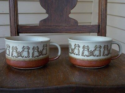 EUC Set of 2 Stoneware Cat Soup Mugs Kitties