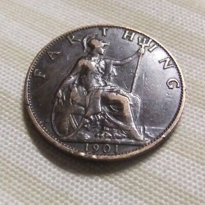 Rare  1901  Farthing . Excellent  Features .