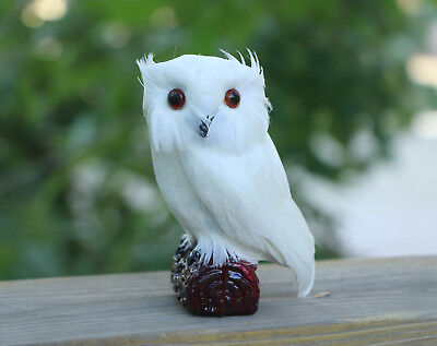 Realistic White Feather Owl Lifelike Bird Replica Furry Animal Garden Deterrent