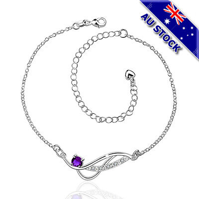 Classic 925 Sterling Silver Filled Purple Cubic Zirconia Crystal Anklet Foot Jew