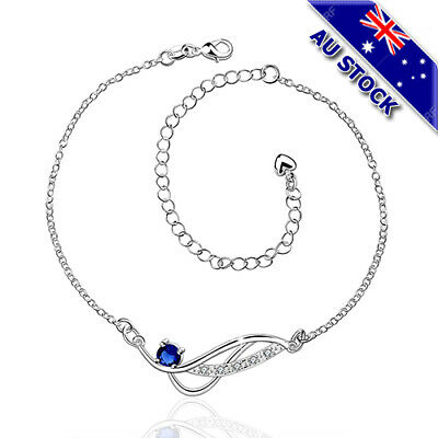 Classic 925 Sterling Silver Filled Blue Cubic Zirconia Crystal Anklet Foot Jewel