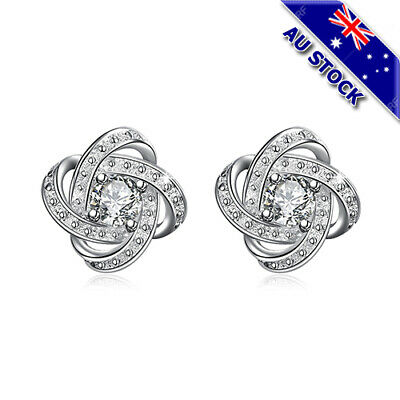 Lovely 925 Sterling Silver Filled Clear CZ Crystal Love Knot Stud Earrings