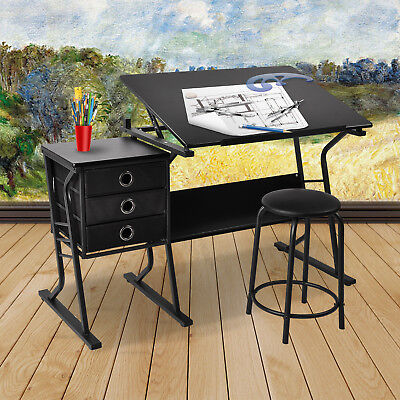 Adjustable Drafting Table Drawing Desk Board Art Craft with Stool,3 Drawer Black