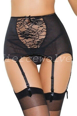 Plus Size High-Waisted Lace Hollow-Out Garter Belt Sexy Black Women