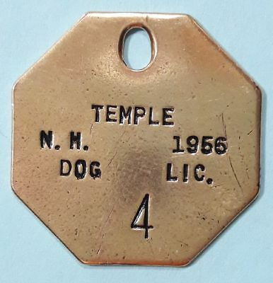 1956 Temple New Hampshire DOG LICENSE tag DOG TAX tag ~ vintage antique token