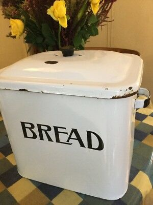Vintage Retro 1960s Large Enamel Bread Bin Storage Collectable Shabby Chic FAB