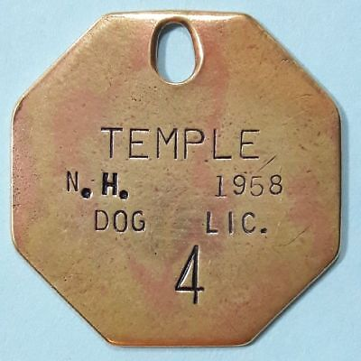 1958 Temple New Hampshire DOG LICENSE tag DOG TAX tag ~ vintage antique token
