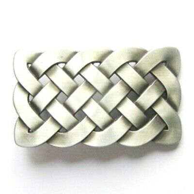 Celtic Knot - antique brush silver plated removable BELT BUCKLE - BP128