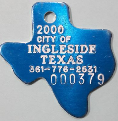2000 Ingleside Texas DOG TAX tag DOG LICENSE tag ~ vintage dog token