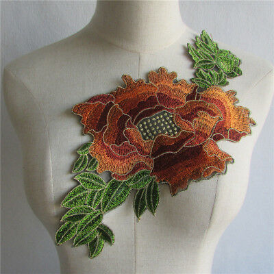 Floral Lace Embroidered Neckline Collar Applique Trim Sewing Craft Patch YL490