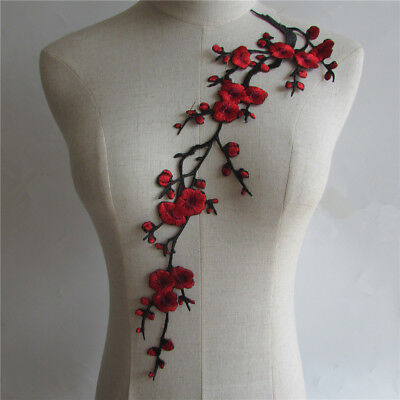 Winter Flower Embroidered Collar Floral Iron-on Dress Applique Patch YL439