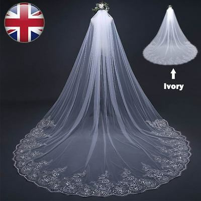 3M*3M Long White / Ivory Applique Edge Bridal Wedding Veil W/ Comb Cathedral UK