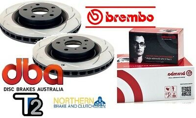 DBA T2 REAR SLOTTED ROTORS & BREMBO PADS suit SUBARU WRX STi BREMBO CALIPERS 08-