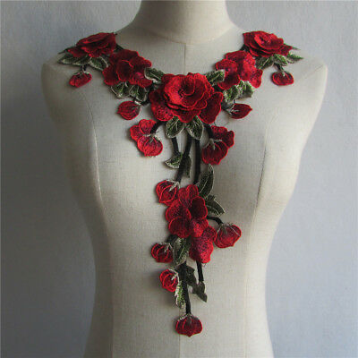 Red Gold Venice Flower Lace Neckline Collar Embroidered Applique YL504