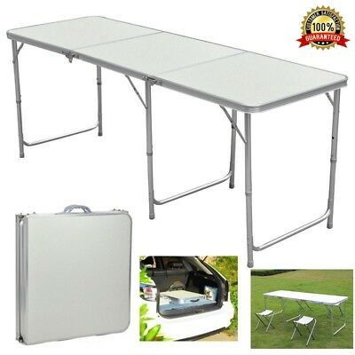 Portable Folding Trestle Table Heavy Duty Plastic Camping Garden Party Car Boot