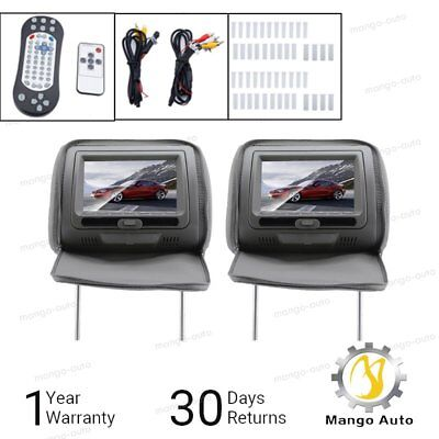"7"" Grey Car Headrest Monitors w/ DVD Player USB/HDMI + Games Controller US Gray"