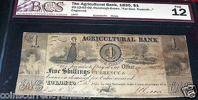 CANADA, THE  AGRICULTURAL BANK, ONE DOLLAR or 5 Shillings ,1835