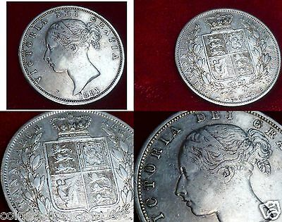 GREAT BRITAIN 1881  Half  CROWN   Queen Victoria Silver Coin
