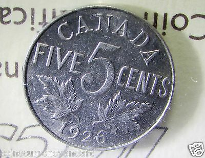 "CANADA , 1926  Five Cents ,NICKEL, FAR "" 6 "", EF- ICCS -  SCARCE COIN"