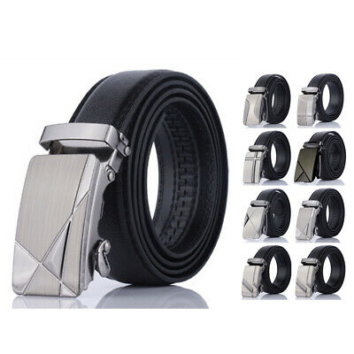Waistband Pu Size Fashion Strap Leather Casual Buckle Black Men's Ratchet Belt