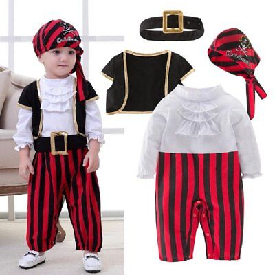 Baby Boy Girl Carnival Pirate Costume Fancy Outfit Clothes Cosplay Party Set