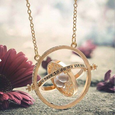 Harry Potter Time Turner Necklace Hermoine Granger Rotating Spins Hourglass