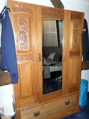 Antique satinwood ? wardrobe two rails pull out draw mirror ornate carving