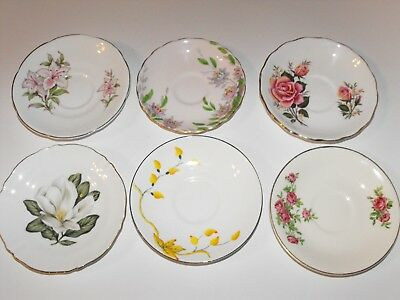 Lot of 6 Vintage China Saucers Floral Shabby Chic English Makers * Combine Post