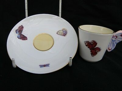 Modern Wedgwood Butterfly Coffee Cup And Saucer Butterfly As Handle