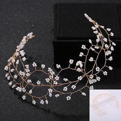 1 Piece Pearls Wedding Hair Vine Crystal Bridal Accessories Headware 31CM AU