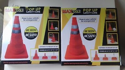 """2 x 18"""" High Visibility Pop up Safety Emergency Cones"""