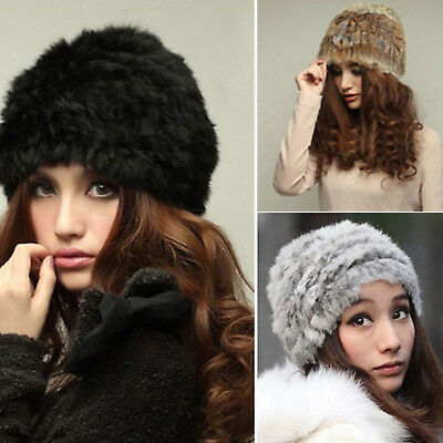 Womens Real Rabbit Fur Hats Headband Soft Beanie Stretch Ski Knitted Warm Winter