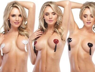 Coquette Sexy Burlesque Gogo Nipple Covers Heart Shaped Pasties With Tassels