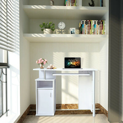 PC Computer Corner Desk Laptop Writing Table and Cupboard Shelves Storage Office