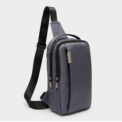22f50066d4f3 Mens Canvas Sling Chest Cross Body Pack Anti-theft Shoulder Bag Sports  Zipper