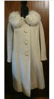Union Made Cream Wool Fur Collar Coat