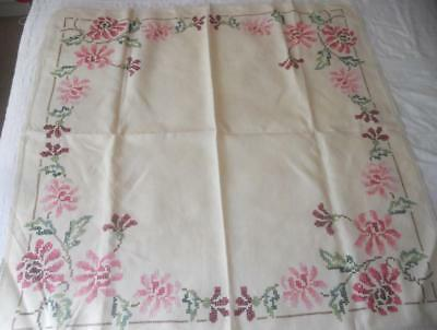 Vintage Hand X Stitch Embroidered Linen Table Cloth Pink Flowers 88 X 85 Cms
