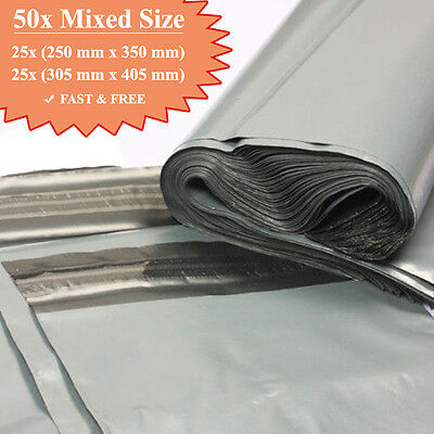 50 Mix Mailing Grey Bags Mixed Parcel Packaging 10 x 14 and 12 x 16 Offer