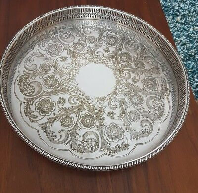 vintage chased silver plated gallery tray by viners of sheffield alpha plate