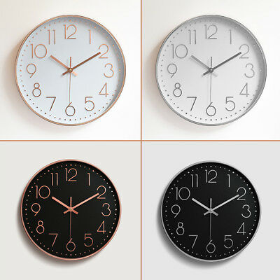 12'' Rose Gold Black Wall Clock Hanging Contemporary Styling Classic