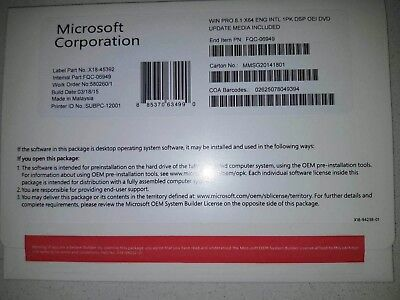 Microsoft Windows 8.1 Pro OEM DVD 64 Bit Full Version Software