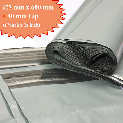 "25 Very Strong Grey Mailing Packaging Plastic Bag Large 17"" x 24"" QUICK DELIVERY"