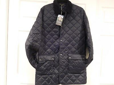 "Barbour Authentic ""thurland"" Quilted Navy Jacket Size Sm New With Tags"