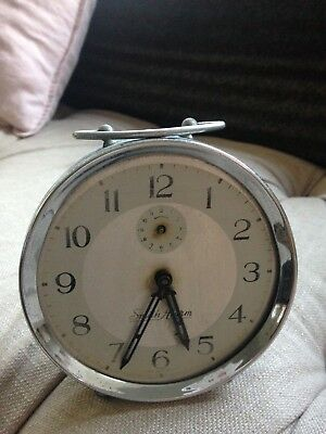 Vintage retro wind up alarm clock pastel blue patina 60/70s collectable Smith Al