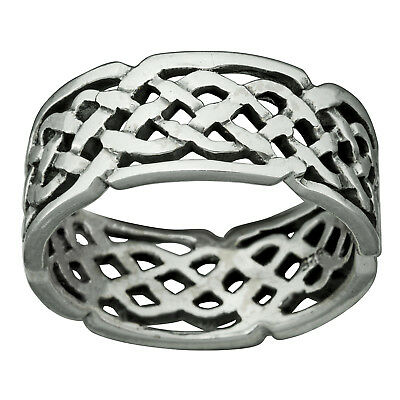 Band Ring Celtic Knot 7.5mm Stamped 925 Sterling Silver 4-6 g - BELDIAMO