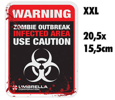 Resident Evil Umbrella Corporation Sticker Auto Aufkleber Warning USE Caution XX