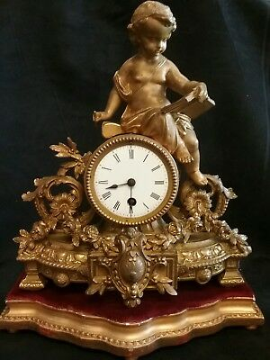 Antique French Spelter Gilt Ormolu Style Figural Mantel Clock