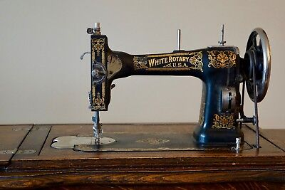 Antique White Rotary Treadle Sewing Machine in 6-Drawer Oak Cabinet, FR2485551