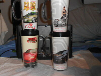 Matco Limited Edition Collector Tumblers w/Cars Motorcycle Playboy Models 4 Cups