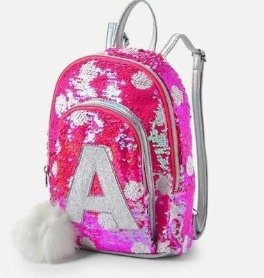 Justice Girls Pink Flip Sequin Initial Mini Backpack